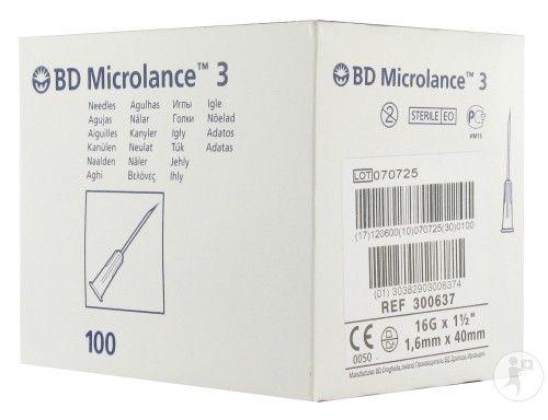 "BD Microlance 3 Hypodermic Needles 16g , 1.5"" 300637"