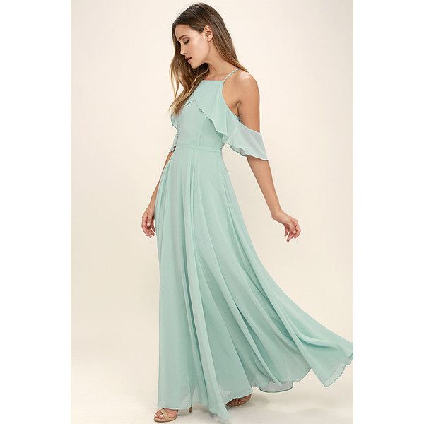 Chandelier Mint Blue Maxi Dress (£67) ❤ liked on Polyvore featuring dresses, blue, mint green dress, off shoulder maxi dress, blue maxi dress, chiffon maxi dress and blue maxi skirt
