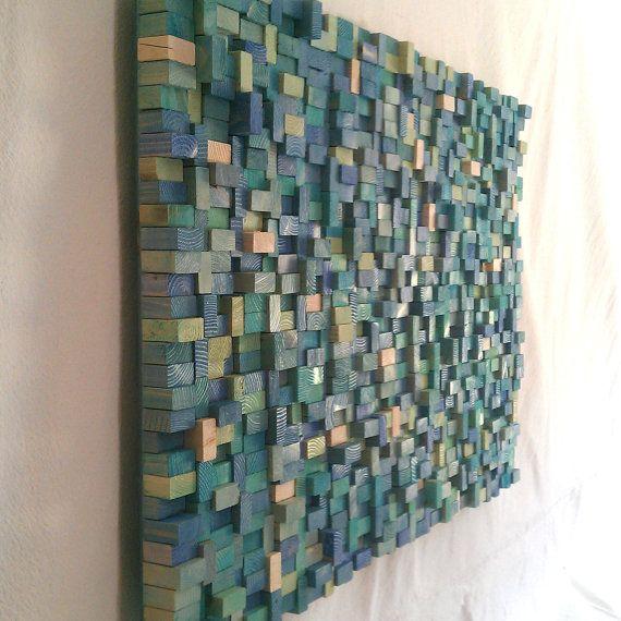 Wall Sculpture  Sea Shore Wood Blocks by TateLowe on Etsy, $220.00