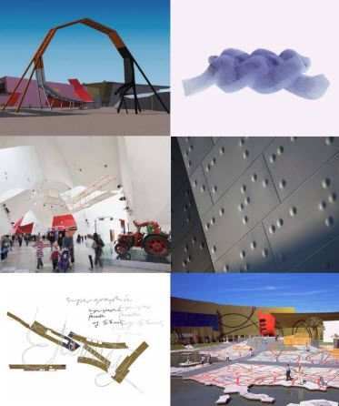 Clockwise from top left: artist rendering of the string that shapes the Museum…
