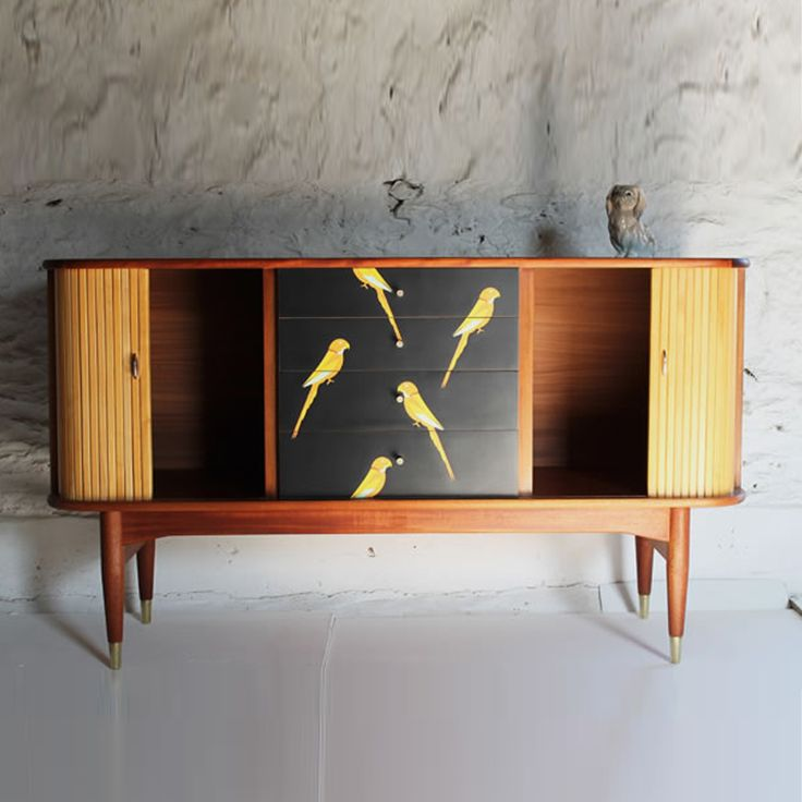 Upcycled Lovebirds sideboard