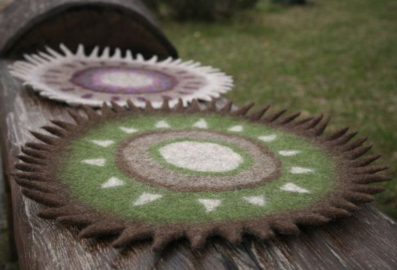 Filz Teppich Wolle Teppich Teppich Natur grün Braun von FeltField