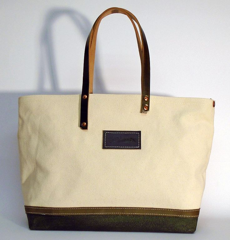 """Hand dyed cotton canvas tote bag - natural colored with jungle green leather strap ●   In case of order, please contact us with the following e-mail address: info@smithandscribeco.com ● Size: 15 cm x 36 cm x 45 cm ● 5,9"""" x 14,2"""" x 17,7"""" ● #handdyedcanvas #cottoncanvas #handmadeineurope #copperrivet #italianleather #vintagebag #totebag #1920's #1930's #1940's"""