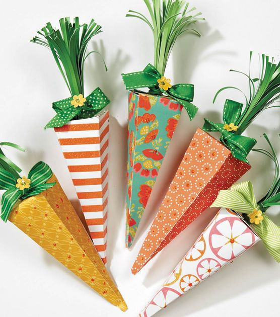 #DIY Paper Carrot Boxes from @DCWV Inc. | Perfect for packaging Easter treats for an Easter basket | Supplies available at Joann.com or your local Jo-Ann Fabric and Craft Store | #easter #spring #easterbasket