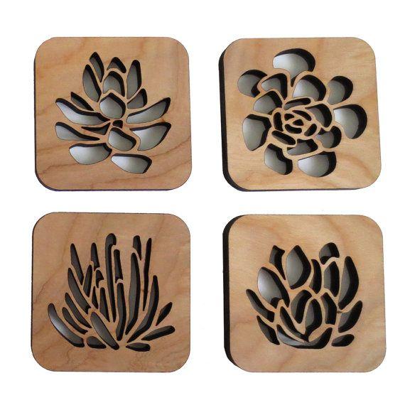 Laser Cut Wood Coaster Set Succulent Garden by CuriousDoodles