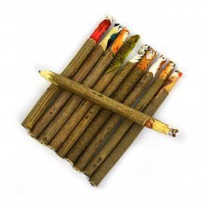 Söt penna med djurmotiv i trä från Robetoy