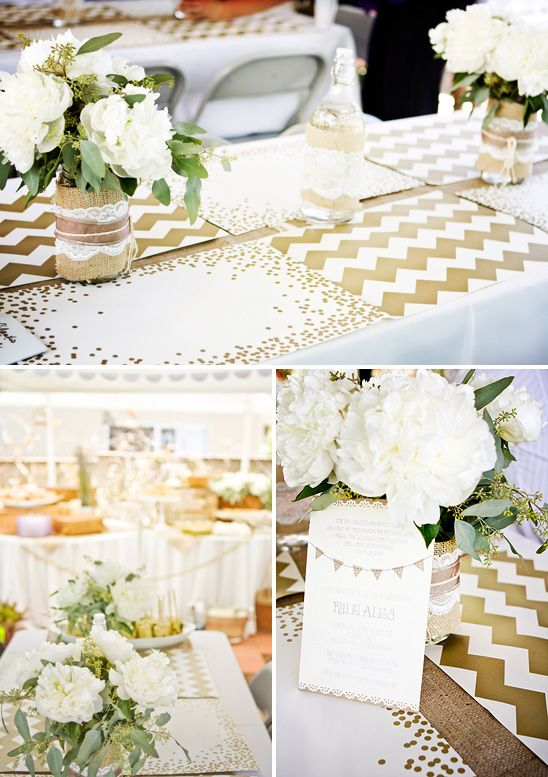 Gold and white chevron and confetti placemats + burlap and lace wrapped vases