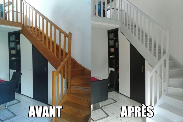 Les 25 meilleures id es de la cat gorie escaliers peints sur pinterest peinture d 39 escaliers for Peindre escalier bois