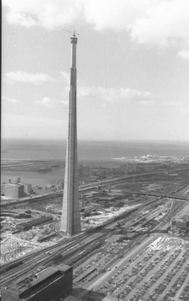 The CN Tower being constructed in Toronto, circa 1974