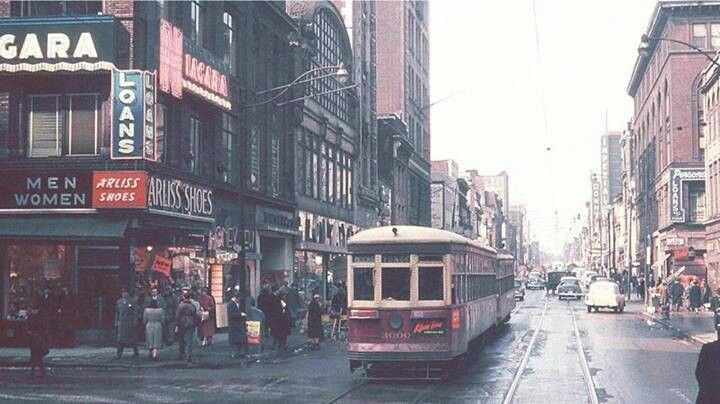 Toronto Yonge St. 1950 All the buildings on the left side were torn down for the Eatons Centre.