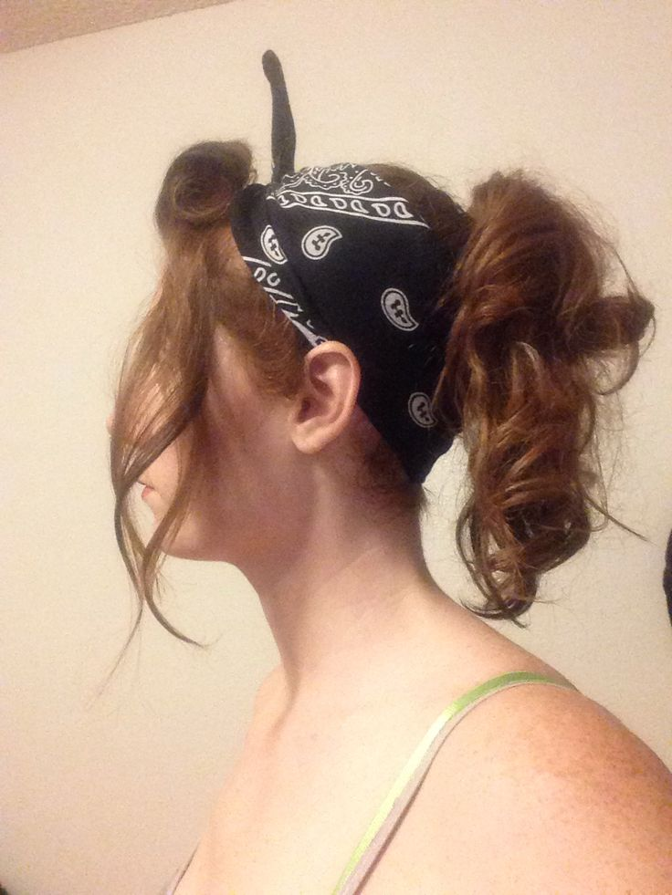 Cute Bandana Hair Style Curled Bangs Curly Pony Tail