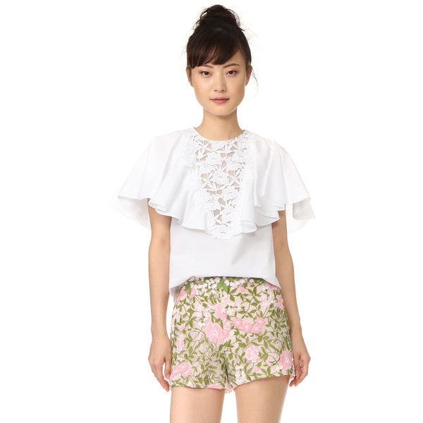 Giambattista Valli Ruffled Short Sleeve Blouse ($995) ❤ liked on Polyvore featuring tops, blouses, white blouse, ruffle top, white ruffle blouse, white frilly blouse and short sleeve blouse
