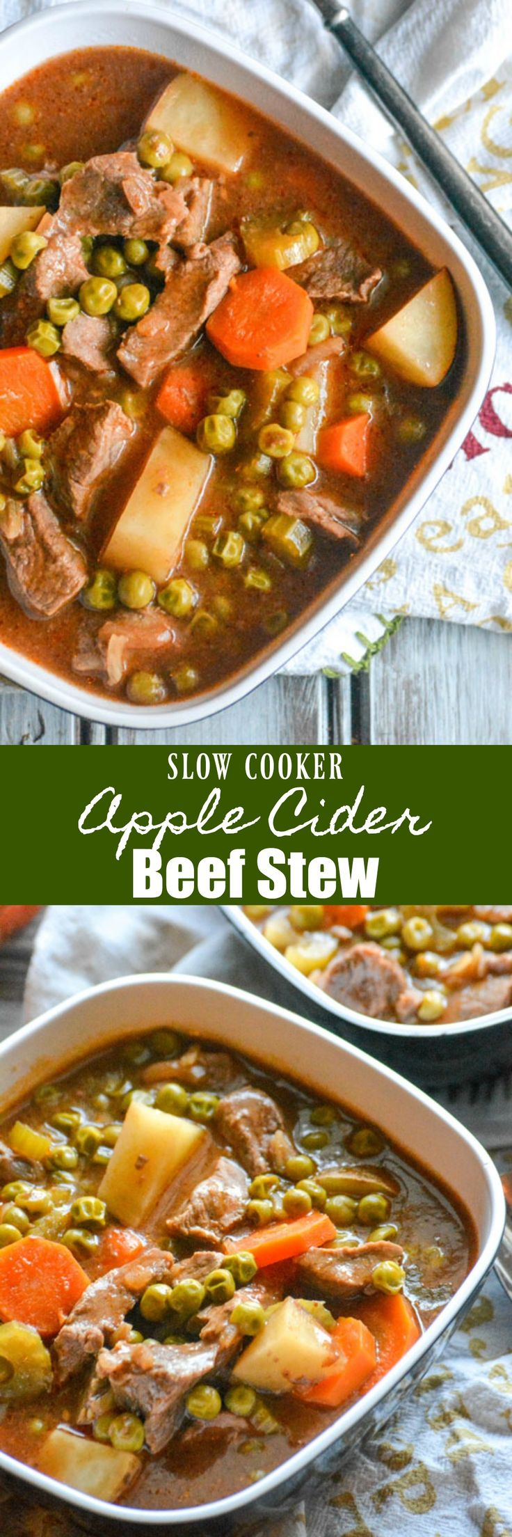 Cold weather got you feeling down? A heaping helping of this hearty slow cooked Apple Cider Beef Stew is just the kind of stick to your ribs lunch or dinner to lift your spirits. It even travels well, making it perfect for sharing and ideal for parties & potlucks. #soup #beefstew #slowcooker #crockpot #applecider