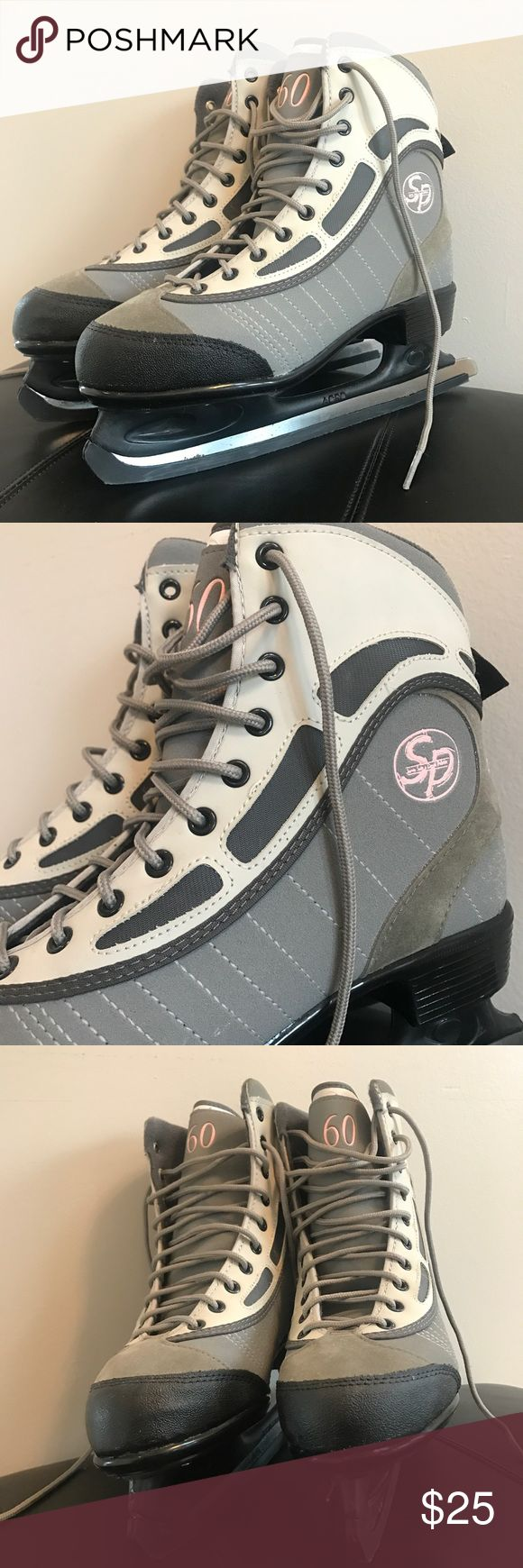 CCM SP 60 ice skates In perfect condition CCM Grey and pink figure skates. Great condition!  These were only used only once for a very short amount of time because they are three sizes too big! There are a few slight marks on the blade which may be able to be buffed out, but still sharp and the boot part is perfect. Fits true to size. Shoes Athletic Shoes