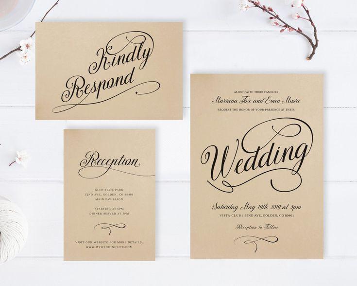 kraft wedding invitations rustic wedding invitation printed on kraft cardstock simple wedding invitation