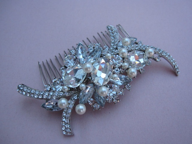 Vintage Inspired  Rhinestones pearl Hairpiece - Bridal Hair Accessory, wedding hair comb, bridal hair comb crystal and pearl. $55.00, via Etsy.