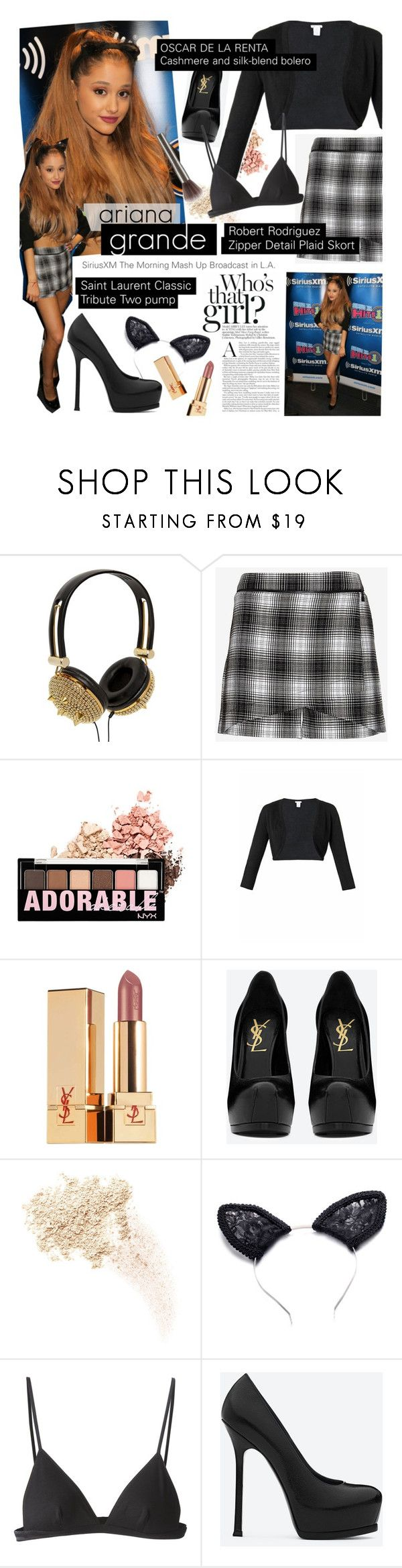 """""""GET THE LOOK: Ariana Grande"""" by houseofhauteness ❤ liked on Polyvore featuring NY&Lon MonnaLisa, Robert Rodriguez, NYX, Oscar de la Renta, Yves Saint Laurent, Too Faced Cosmetics, T By Alexander Wang, Urban Decay, GetTheLook and YSL"""