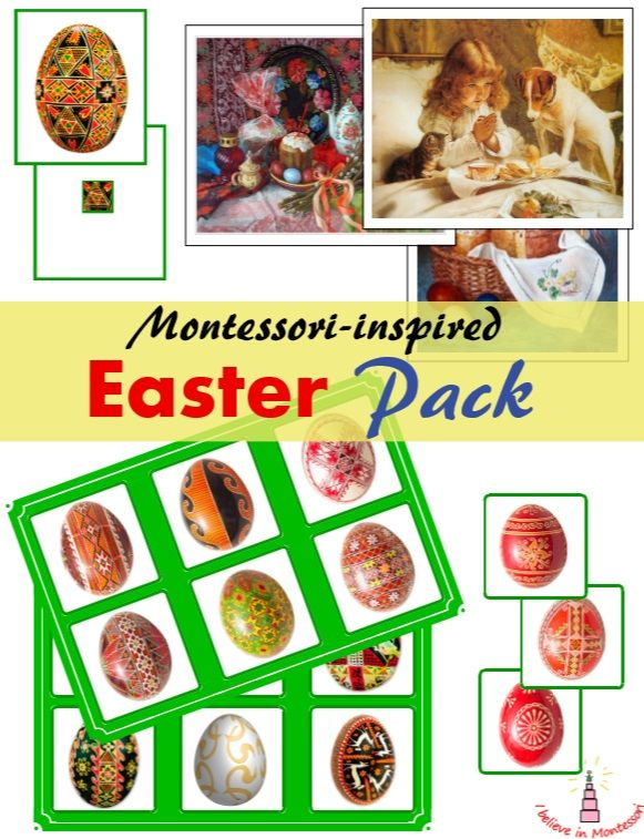 Montessori-inspired Easter pack of materials: - Easter Eggs Bingo Game - Easter Egg finding pattern cards - Easter in Paintings Art Cards