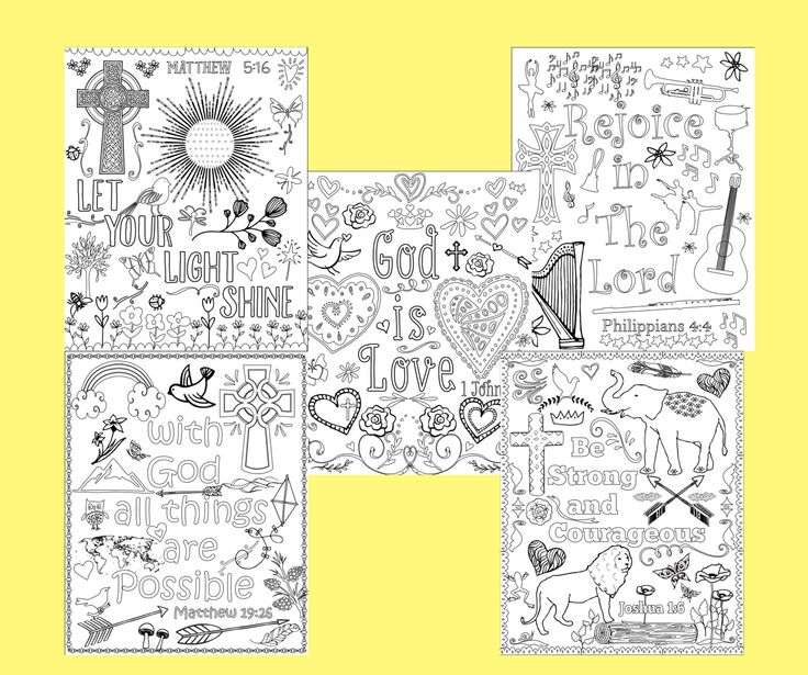 Christian Coloring Pages Pdf : Bible verse coloring pages set of instant download