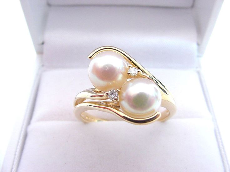 FINE QUALITY CULTURED AKOYA SALTWATER PEARLS  6.8 mm  and DIAMONDS 14K GOLD RING…
