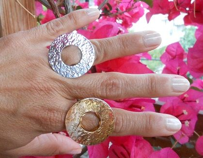 A hammered silver ring made by hand.These ring designs made with chisels.Available in silver 925 or goldplated silver.You can wear them together ,the result is very impressive!