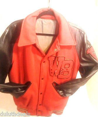 Medium, Red & Black, Varsity/ Letterman Jacket, Wool and Leather