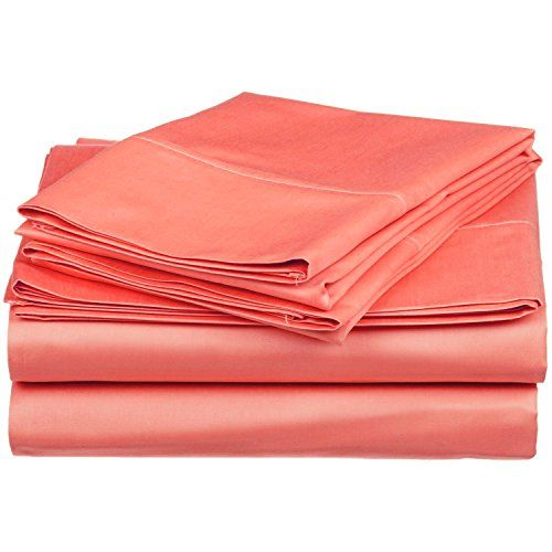 Twin XL Sheet Set 300-Thread Soft 100% Premium Long-Staple Combed Cotton , Deep Pocket, Coral