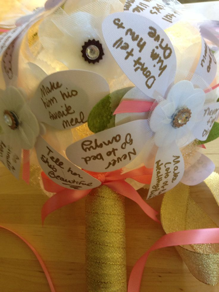 Gold and coral Petal Wishes wedding rehearsal bouquet filled with good wishes!!