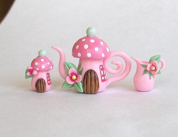 Miniature Pink Fairy Toadstool House Tea Set  by ArtisticSpirit, $31.50
