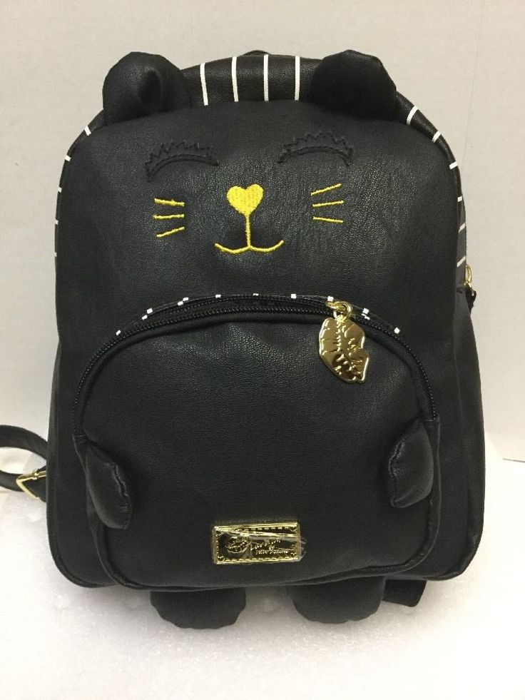 LUV Betsey Johnson Kitty Kitsch Cat Face Black Striped Tote Backpack Bag #BetseyJohnsonLuvBetsey #Backpack