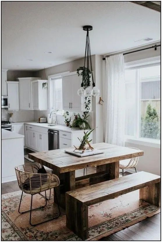 131 elegant bohemian style kitchen design ideas 178 in 2020 dining room small modern on boho chic dining room kitchen dining tables id=97960