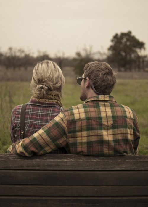 Let's watch the sunset together.: Ideas, Flannels Shirts, Engagement Photo, Benches, Pictures, Engagement Pics, Plaid Shirts, Country Couple, Engagement Shoots