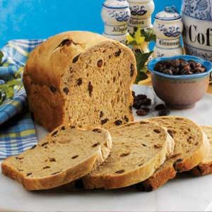 """Coffee Raisin Bread Recipe -""""This bread brings back memories of Easter mornings when I was a child and enjoyed toasted hot cross buns,"""" pens Lois Head of Portland, Oregon."""