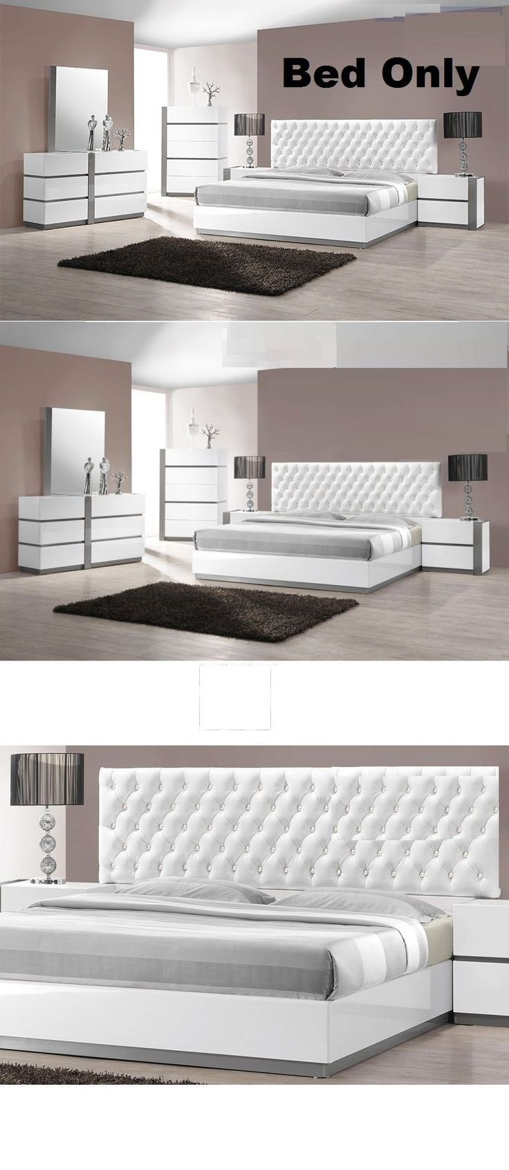 Bedding: Modern Bedroom White Lacquer Exterior 1Piece Cal King Size Bed  Crystal Furniture ->