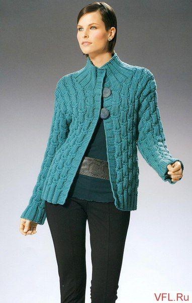 Бирюзовый жакет спицами - Жакеты,полуверы, свитера