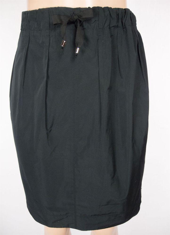 LIDA BADAY Skirt Size 6 S Black Drawstring Waist Casual Sheen Wear To Work #LidaBaday #ALine