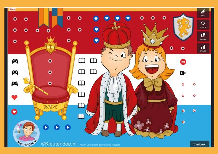 Interactieve praatplaat voor kleuters, thema Koningsdag, kleuteridee, met veel informatieve video's
