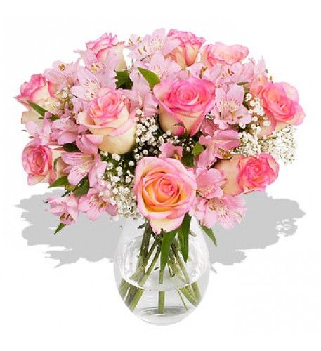 A beautiful bouquet for lovers of traditional roses.  The 'vintage' pink of the roses is complemented by the pale pink alstroemeria and interspersed amongst the pink flowers are the tiny white gypsophila flowers.