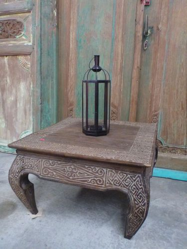 Balinese Furniture Wood Low Opium Coffee Table Hand Carved Antique Timor Finish