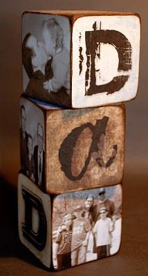 DIY Letter blocks! This would be a low cost budget friendly gift, that can be personalized. Pick up the wooden blocks from your local craft store, glue or mod podge on scrapbook paper & letters, then just add some picture of the husband hunting & fishing with the kiddos!