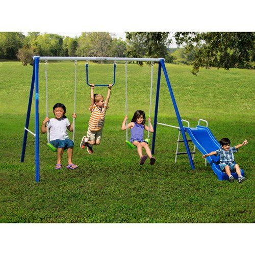 swing sets with slide for kids 2 12 y o outdoor fun play backyard