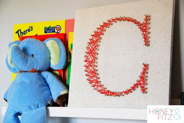 Initials, monograms, and date or address... so many options! http://honeyandfitz.com/2012/02/16/diy-string-art-tutorial/