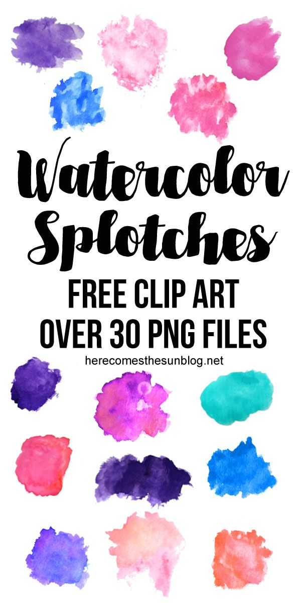 This watercolor splotches clip art collection is so beautiful!  Free for personal use.