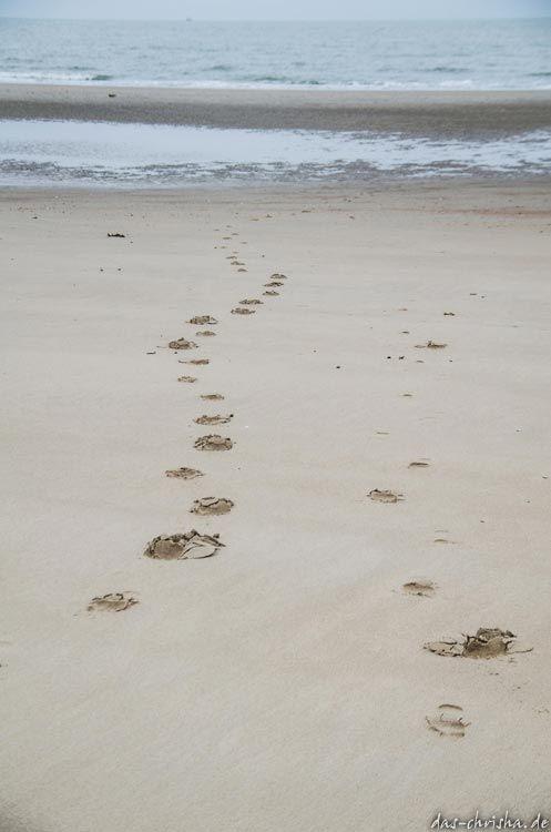 Fußspuren im Strand bei Oostende, Belgien (Europa)