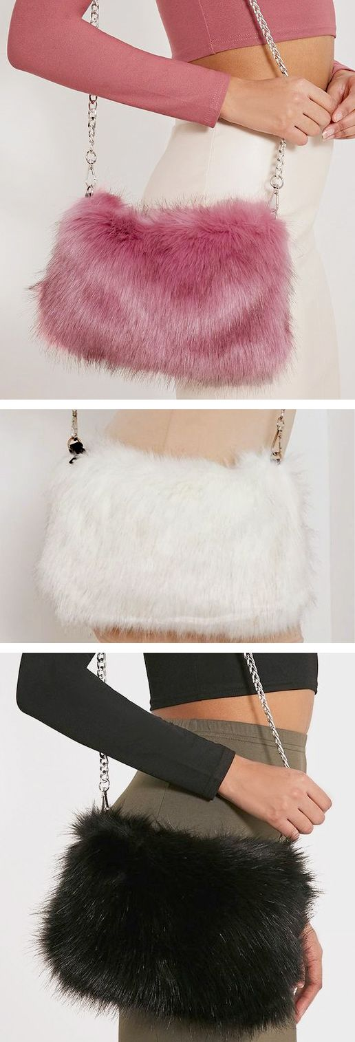 FAUX FUR PURSE Luxury in black pink or white - Luxurious lifestyle shoulder bag - girly & soft handbag with chain strap. edgy women's fashion, cute purses, outfit to wear to a wedding, fashion outfit ideas for teens, prom & homecoming purses, work outfits women, girls night out outfit, rave outfits, festival fashion. Cute clutch goes with a black cat sexy halloween costume, cat lover gifts, lolcats, faux fur clothing, cat lady humor, cat stuff, meow. Affiliate Link.
