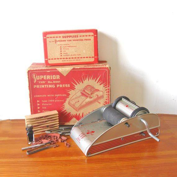 1950 Vintage Printing Press Superior Cub 8401 Working Toy. $45.00, via Etsy.
