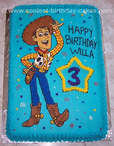 This might be more my speed - sheet cake with woody traced and frosted.