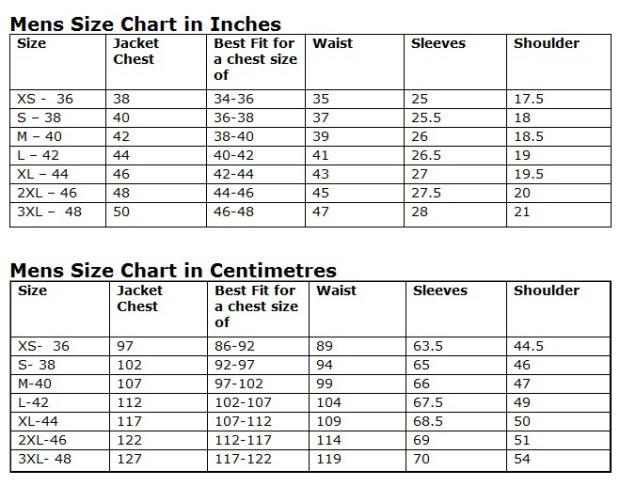 Mens jacket size chart http attireclub wordpress com 2013 04 15
