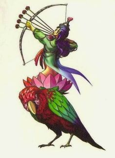 Kamadeva- Hinduism: the god of love, attraction, and sexuality. He is mounted on a  parrot and wields a bow and arrow.