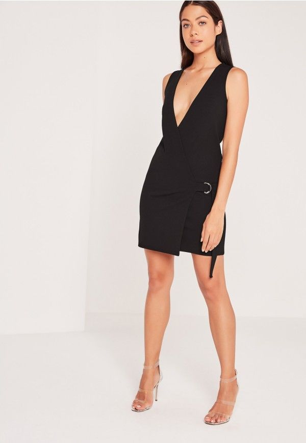 Sleeveless Wrap Tux Dress Black - Missguided